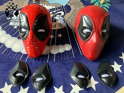 Deadpool ABS Plastic Full Shell Mask/Helmet with TWO Sets of  Magnetic Lenses