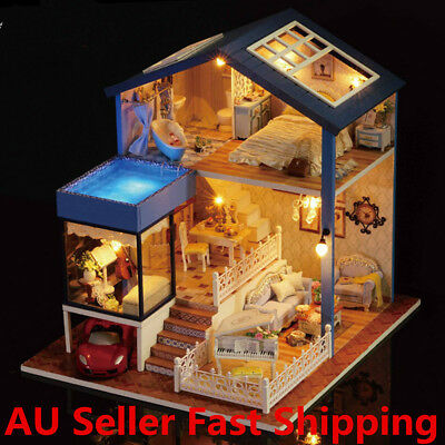 Seattle Cottage Dollhouse Miniature DIY Kit Dolls House With Furniture Gift New
