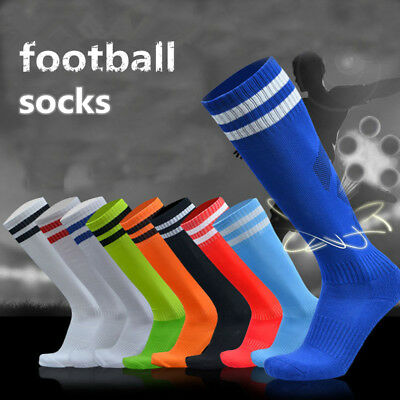 Men Boys Soft Sports Football Soccer Plain Long Socks Cotton Over Knee Socks HOT