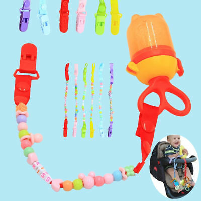Dummy Pacifier Soother Nipple Clip Toy Boys Girls Baby Beads Chain Holder I0045