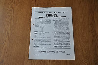 Philips AG 4126 Record Player Workshop service manual AG4126