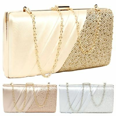 New Hard Compact Women's Diamante Pleated Evening Clutch Bag Purse