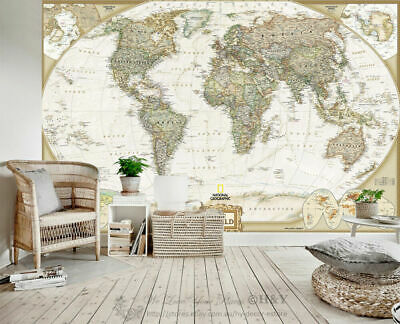 Geography World Map Removable Wall Mural Paper Vinyl Sticker Home Office Decor