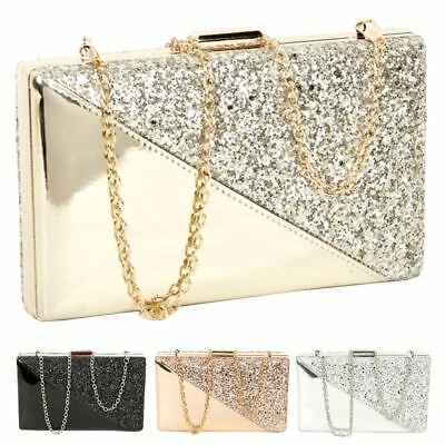 New Ladies Hard Compact Patent Leather Glitter Chain Strap Party Clutch Bag