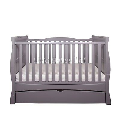 New Baby Grey Sleigh MASON Cot Bed With Drawer - Optional Mattress 140x70x10cm