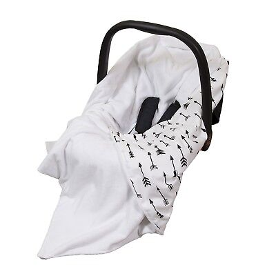 **New Cotton & Soft Plush Baby Car Seat Blanket - white with black arrows