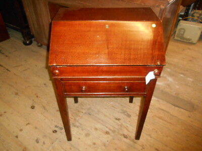 Small19Th Century Oak Campaign Writing  Desk  Fitted Interior Brass Carrying Han