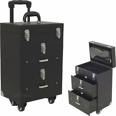 New Professional Beauty Rolling Trolley Case Box Make Up Cosmetic Nail Jewelry