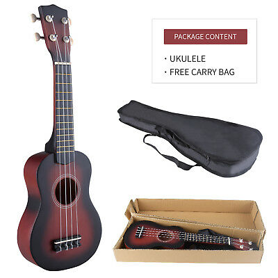 "21"" Soprano Ukulele Sapele 12 Frets Hawaiian Guitar Wood w/Carry Bag Beginnner"