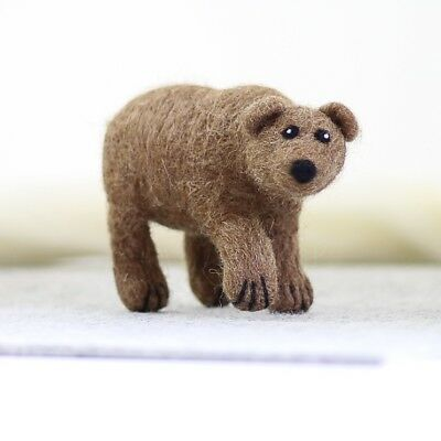 Grizzly Brown Bear - Needle Felting Kit - British Wool Design Craft Gift Make