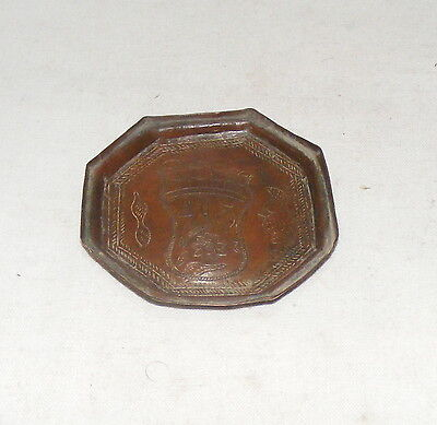 Old Antique Original Beautiful Hand carved Brass / Copper Holy Foot Mini Plate
