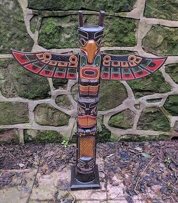 Superb Totem Pole 100 cm Hand Carved Wooden Painted Native American Man Cave 1m