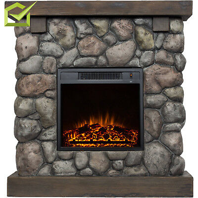 """Electric Fireplace Heater 38"""" Mantle Faux Stone Polyfiber Fire Adjustment Home"""