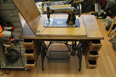 antique SINGER treadle sewing machine cast iron pedal base 6 drawer cabinet NICE