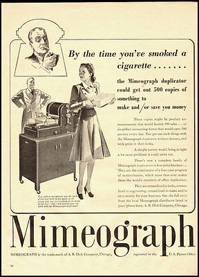 1940 Vintage ad for Mimeograph/A.B. Dick Company, Chicago (010113)