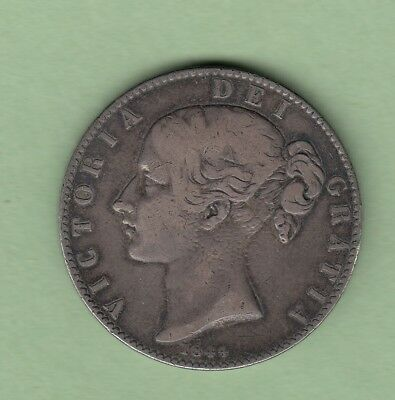 1844 Great Britain One Crown Silver Coin - Cinquefoil Stops -