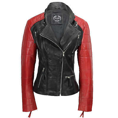 Ladies Womens Black Red Soft Genuine Real Leather Biker Style Jacket Fitted