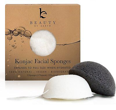 Konjac Facial Sponge - Pack Of 2 Sponges (Charcoal Black & Natural White)