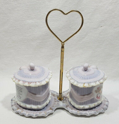 Precious Moments Heart Shaped Serving Dishes Lids Handle Friendship 1995