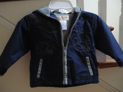 Infant Boys Navy & Gray Football Jacket with Hood Lined 24 Mons.by Outbrook Kids