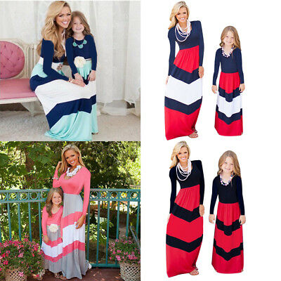 Mother and daughter Dresses Striped Matching Mommy&Me Maxi Dress Family Clothes
