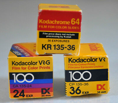 Kodak Kodacolor/Kodachrome film lot 35mm  - 3 Rolls - Expired, Sealed