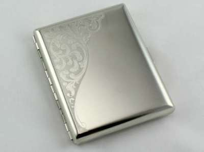 Metal Double Sided King & 100's Cigarette Case Etched NEW