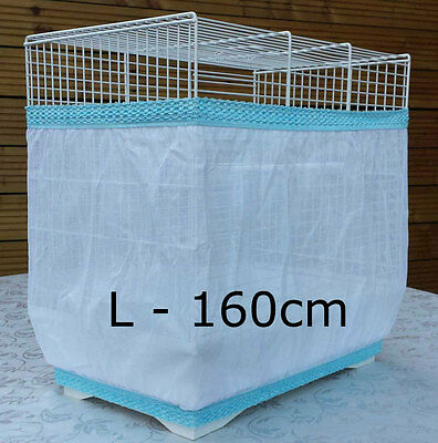 Bird cage tidy seed catcher guard pile fabric double strap White Large 160cm