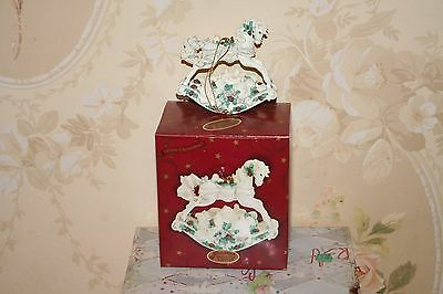 San Francisco Music Box Co. Ornament Rocking Horse, White Christmas New in Box