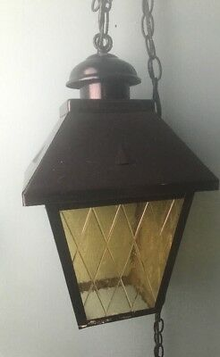 Vintage Mid Century Swag Light Amber Yellow Glass Caged Gothic Hanging Lantern