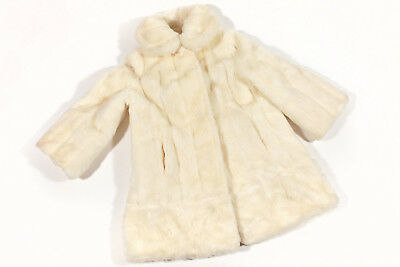Vintage Cream Faux Fur Women's Winter Evening Dress Coat Susan Lynn Size Large