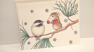 Ellen Jareckie House Mouse Designs 2-Ct. Christmas Cards Cute Mouse Chickadee