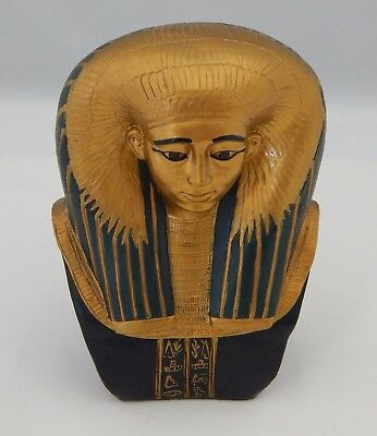 Ancient Egyptian Replica King Tut Pharaoh Figurine Bust Gold Black Painted
