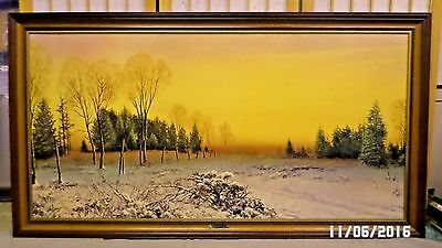 "825D Vtg A.D. Greer ""A Trace of Snow"" Framed Textured Print on Board 52x28"