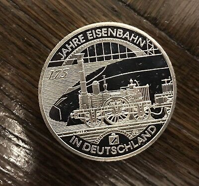 Germany 2010-D 175 years German railroad 10 Euro Proof Silver Coin
