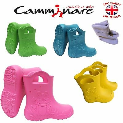 Kids Boys Girls Unisex Camminare Rainy Wellies Wellingtons Boots Thermal Frog