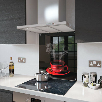 Red Coffee Cup Glass Splashback Fixing Holes - 80cm Wide x 75cm High