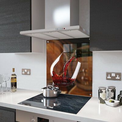 Red Wine Pour Glass Splashback Fixing Holes - 90cm Wide x 70cm High