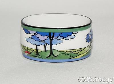 W/Wood -  CLARICE CLIFF -  RARE *Napkin Holder* BLUE FIRS* Mint