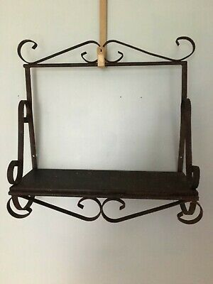 Vintage BLACK METAL WROUGHT IRON Rusty Rustic Scroll  Shelf