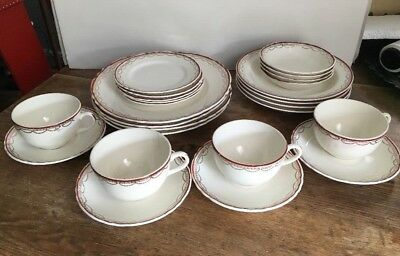 WS GEORGE CHINA 4 Place Settings red burgundy trim GOLD garland 6 piece setting