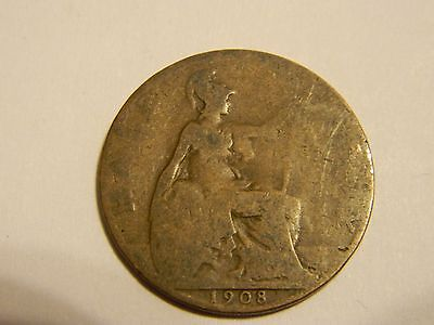 1908 UK Great Britain Half Penny Coin, Copper 1/2 Penny--INV71