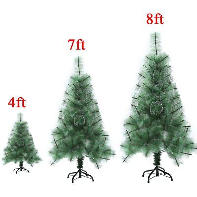 Green 4ft 7ft 8ft Tall Christmas Tree W/Stand Holiday Season Indoor Outdoor S2