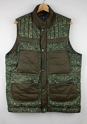 Barbour x White Mountaineering Edenkawa Quilted Green Camo Cargo Puffer Vest XL