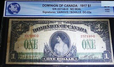 1917 DOMINION OF CANADA $1 -clear image of princess patricia  VF+