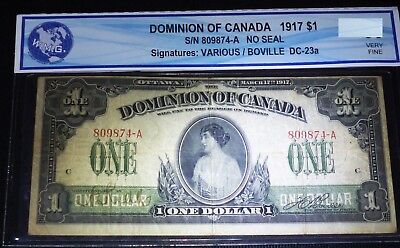 1917 DOMINION OF CANADA $1 -clear image of princess patricia  VF++