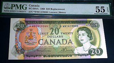 1969  *WN $20 Asterisk Replacement , BANK OF CANADA  Banknote PMG About Unc 55