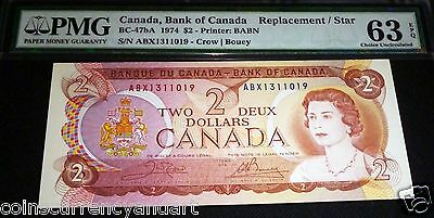 1974 Bank Of Canada $2 Replacement/ Star  Pmg 63 Exceptional Paper Quality
