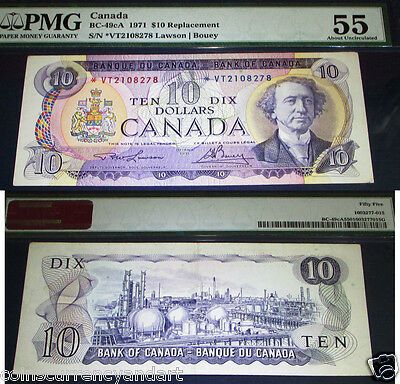 ASTRISK REPLACEMENT BANKNOTE *VT , $10 Bank Of Canada 1971 EF PMG 55 , ABOUT UNC