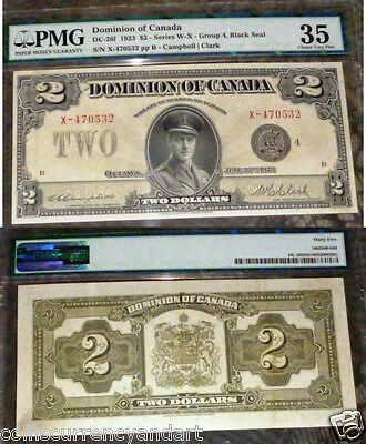 Dominion Of Canada 1923 $2  Pmg 35 (Choice Very Fine)